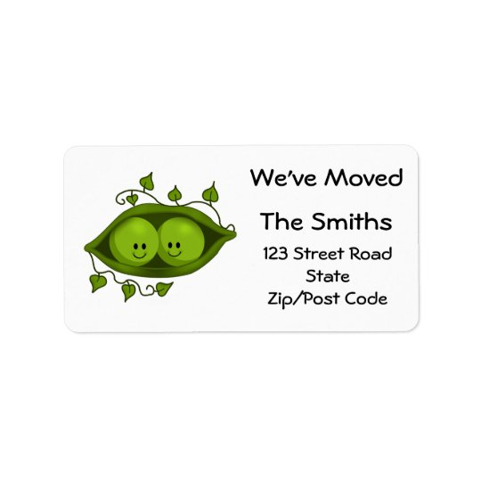 We've Moved, Two Peas In A Pod Address Label
