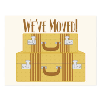 We've Moved - Vintage Suitcases with Stars Postcard