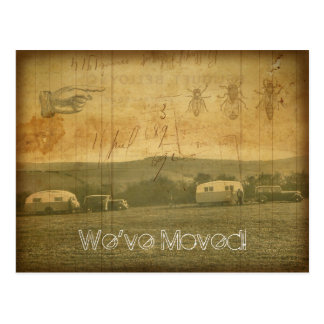 We've Moved Vintage Travel Trailers Grunge Collage Postcard