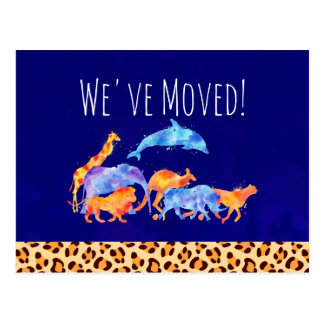 We've Moved Wild Animals with a Leopard Print Postcard