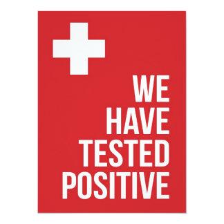 We've tested positive... 14 cm x 19 cm invitation card