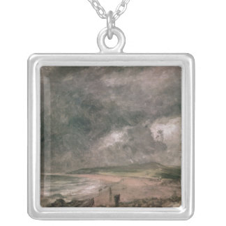 Weymouth Bay with Approaching Storm Silver Plated Necklace