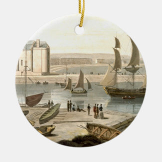Weymouth Harbour, from 'A Voyage Around Great Brit Round Ceramic Decoration