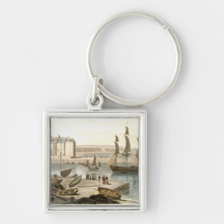 Weymouth Harbour, from 'A Voyage Around Great Brit Silver-Colored Square Key Ring