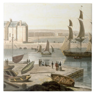 Weymouth Harbour, from 'A Voyage Around Great Brit Tile