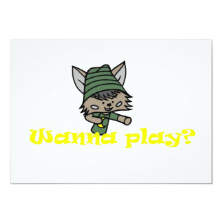 Wezz/Wanna play? 13 Cm X 18 Cm Invitation Card