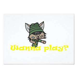 "Wezz/Wanna play? 5"" X 7"" Invitation Card"