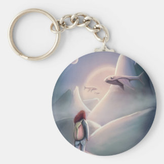 Whal Girl hiking on the alien planet of the flying Basic Round Button Key Ring