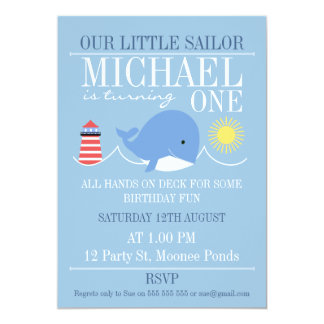 Whale 1st Birthday Invitation