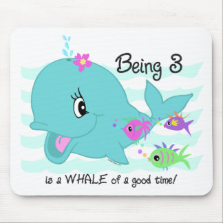 Whale 3rd Birthday Mousepads