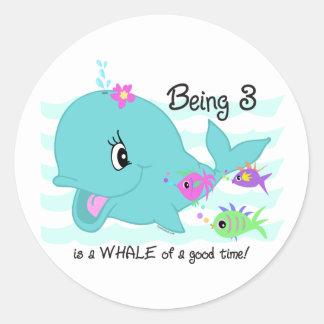 Whale 3rd Birthday Sticker