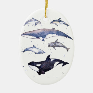 Whale and dolphins of Scotland Ceramic Oval Decoration