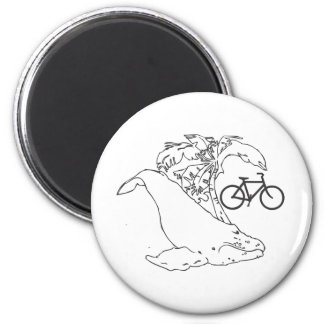 whale and dophin 6 cm round magnet