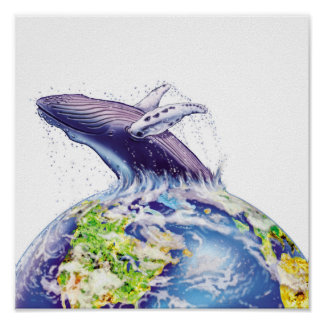 whale and earth design print
