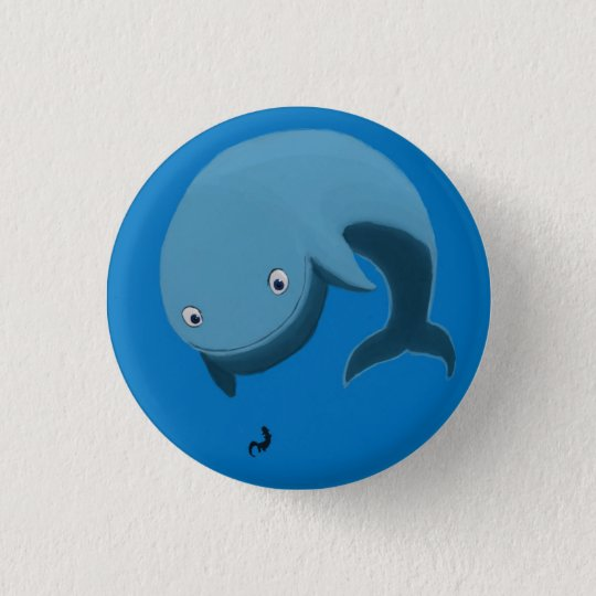 Whale and Otter 3 Cm Round Badge