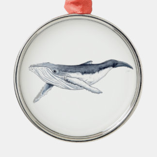 whale baby fond transparent Silver-Colored round decoration