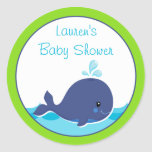 Whale Baby Shower Favour Stickers