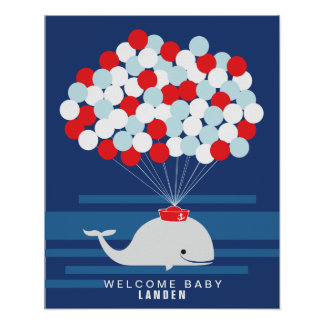 Whale   Baby shower guest book Print