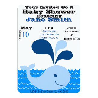 Whale Baby Shower Invite (Boy)