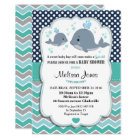 Whale Baby Shower Personalised Invitation Baby Boy