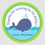 Whale Birthday Party Favour Tag Sticker