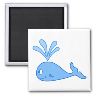 Whale, Blue. Square Magnet