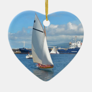 Whale Boat Racing In Horta Ceramic Heart Decoration