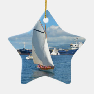 Whale Boat Racing In Horta Christmas Ornament