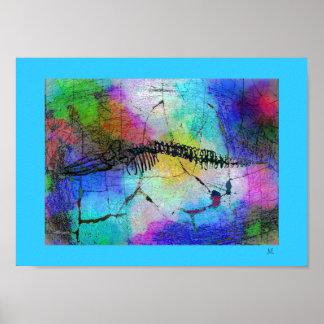 Whale Bones in Psychedel Pop Art Poster