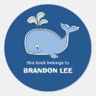 Whale Bookplates, BB Classic Round Sticker