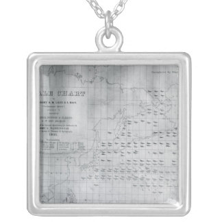 Whale Chart of the North Pacific, 1851 Silver Plated Necklace