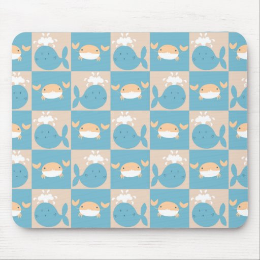 Whale Crab Checkered Pattern Mousepad