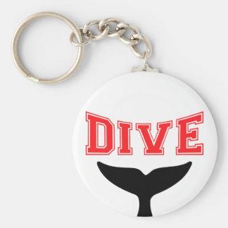 Whale Design SCUBA Dive Basic Round Button Key Ring