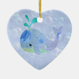 Whale Fish Baby Boy Birth Announcement Heart Christmas Ornament
