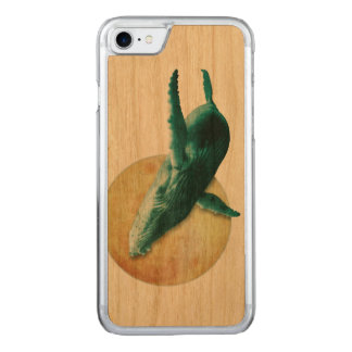 Whale Flying to The Moon Wood Carved iPhone 7 Case