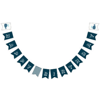 Whale Happy Birthday Banner - Bunting Flag