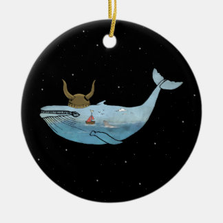 Whale illustration christmas ornament