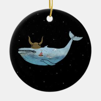 Whale illustration christmas ornament