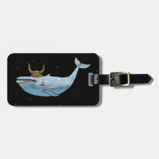 Whale illustration luggage tag