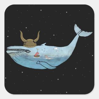 Whale illustration square sticker