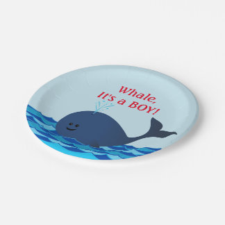 Whale It's A Boy Personalized Paper Plates