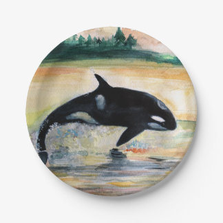 Whale Jumping Orca Custom Paper Plates 7 in