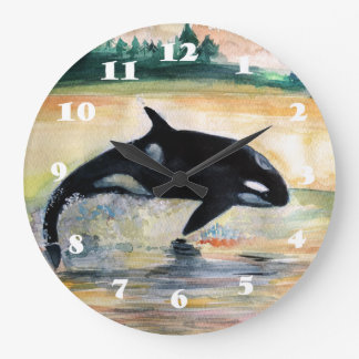 Whale Jumping Orca Round (Large) Wall Clock