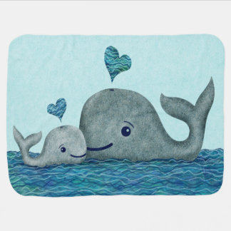 Whale Mom and Baby Swimming in the Sea Baby Blanket