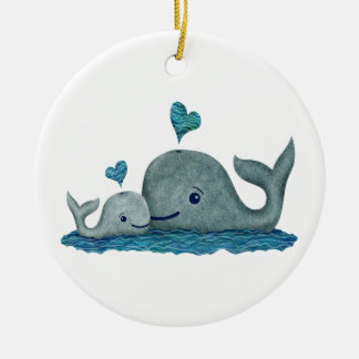 Whale Mom and Baby Swimming in the Sea Christmas Ornament