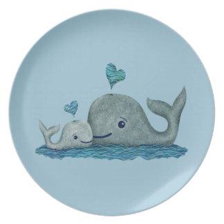 Whale Mom and Baby Swimming in the Sea Plate