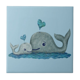Whale Mom and Baby Swimming in the Sea Small Square Tile