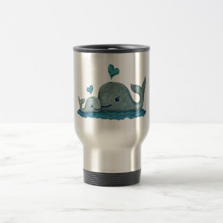 Whale Mom and Baby Swimming in the Sea Travel Mug