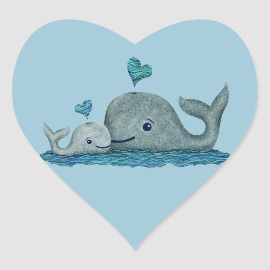 Whale Mum and Baby Swimming in the Sea Heart Sticker