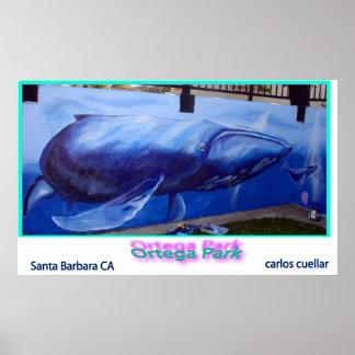 whale mural print